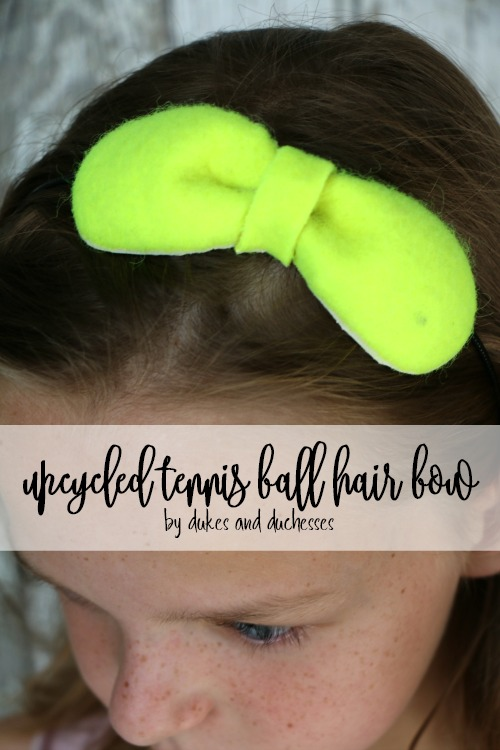 upcycled tennis ball hair bow