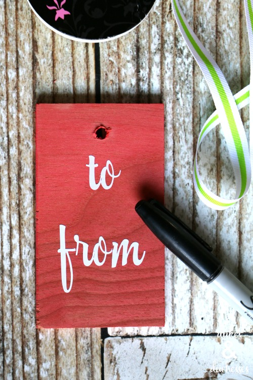 vinyl and wood gift tags