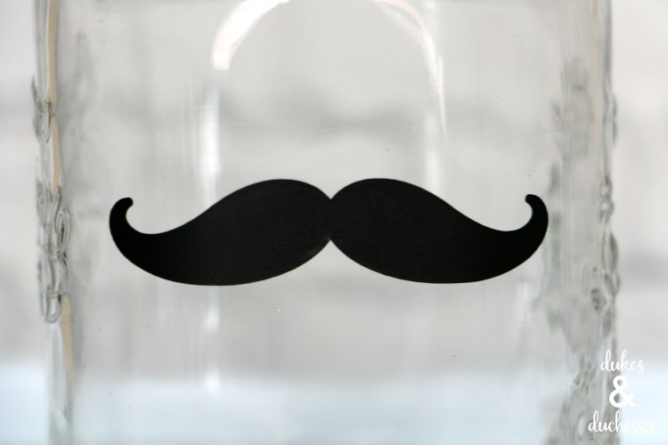 black vinyl mustache on a jar gift idea