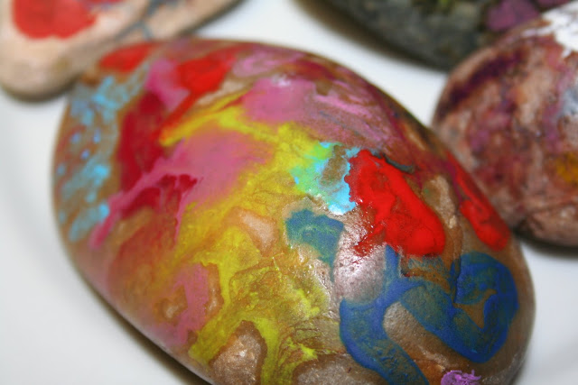 crayon covered swirly stones
