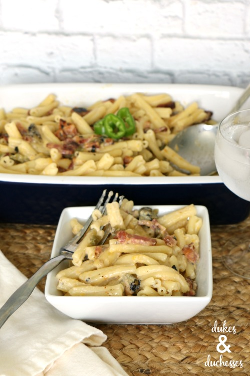 homemade hatch chile bacon mac and cheese