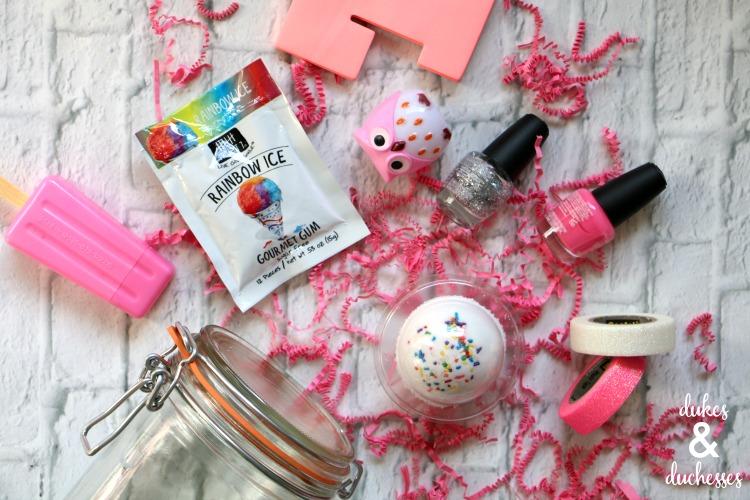 pink glitter mason jar contents