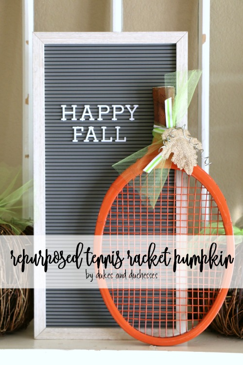 repurposed tennis racket pumpkin
