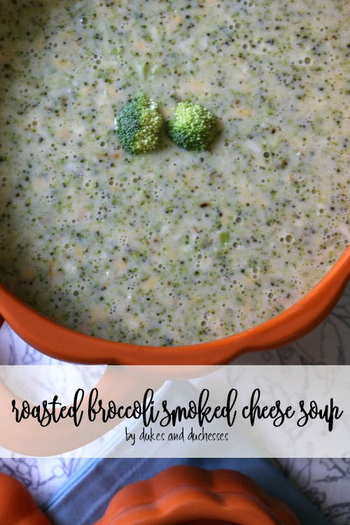 roasted broccoli smoked cheese soup