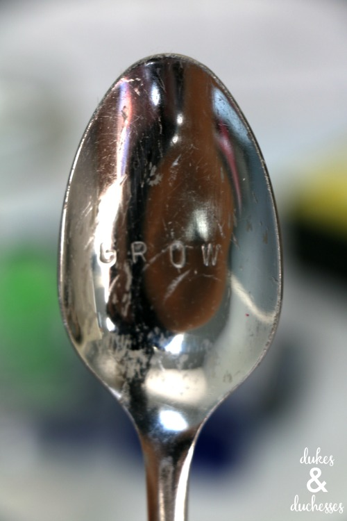 stamped metal spoon plant marker