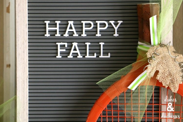 Repurposed Tennis Racket Pumpkin