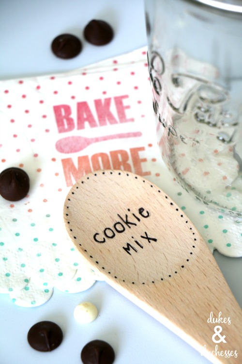 upcycled wooden spoon cookie label