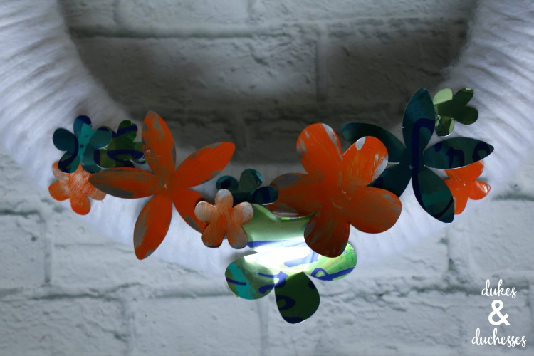aluminum can flowers on wreath