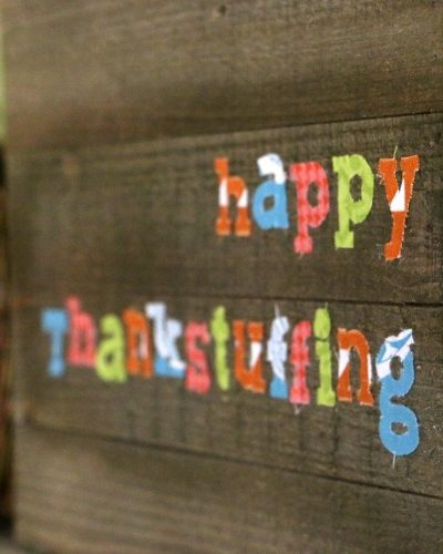 colorful fabric sign for thanksgiving