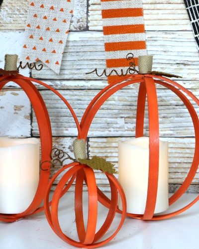 Upcycled Embroidery Hoop Pumpkins