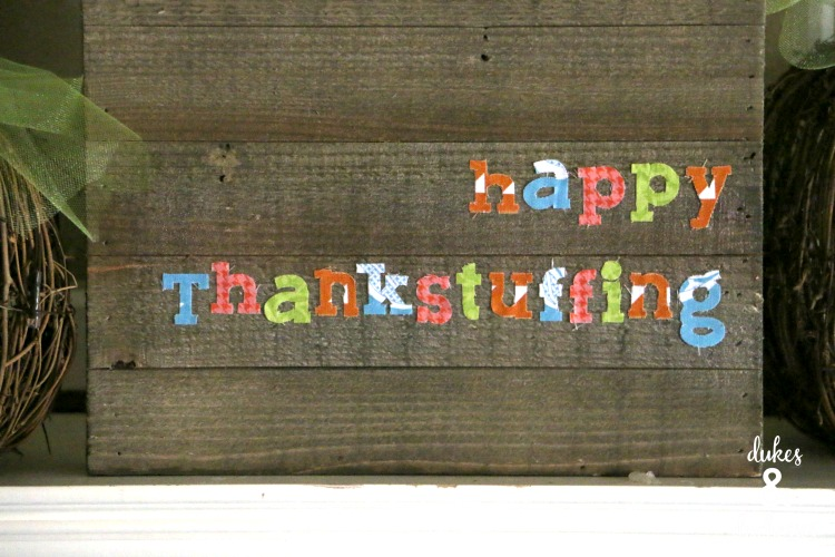 fabric sign for thanksgiving