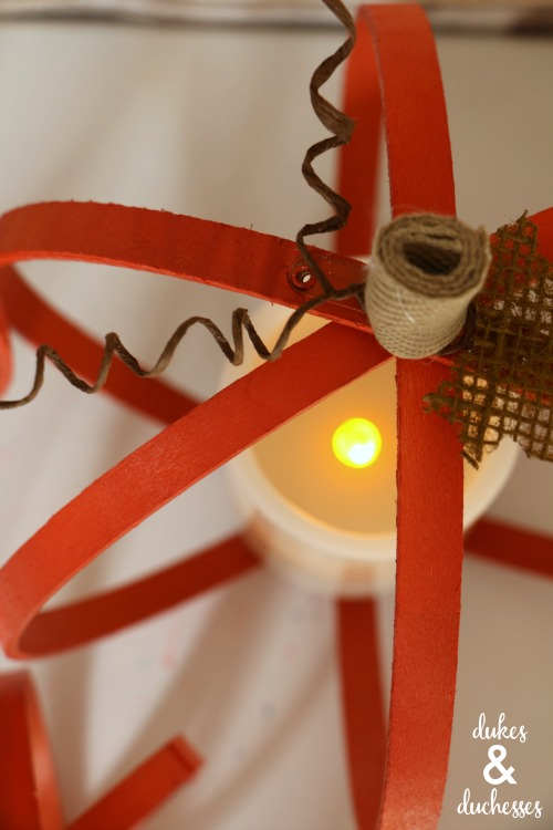 flameless candles in upcycled pumpkin candle holders