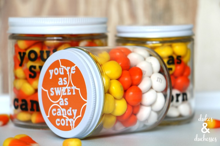 layered candy corn gift in a jar