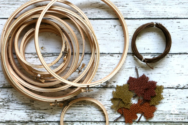 supplies for upcycled embroidery hoop pumpkins