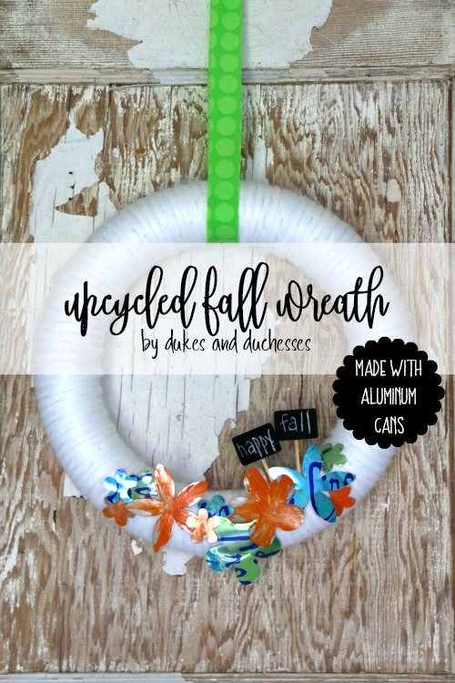 upcycled fall wreath made with aluminum cans