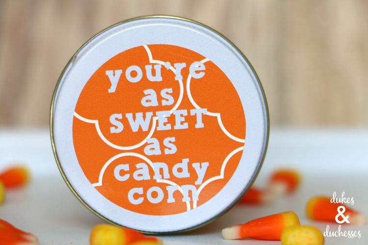 vinyl candy corn gift idea made with cricut