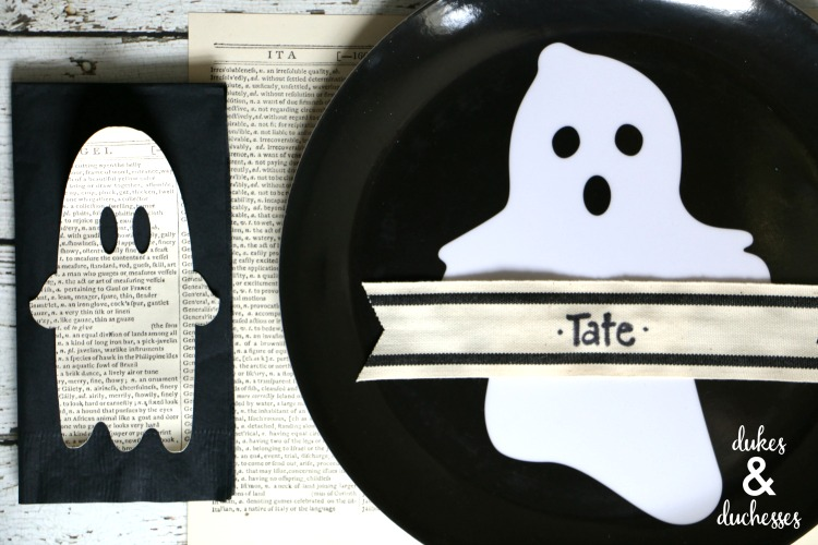 ghost tablescape for halloween book exchange