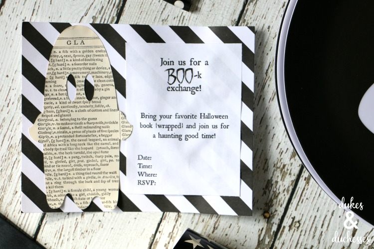 halloween book exchange printable invitation