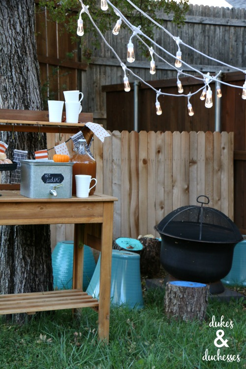 outdoor cider bar for fall