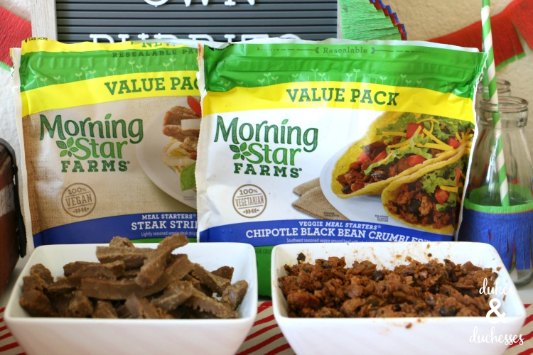 breakfast burrito bar with morning star farms meal starters