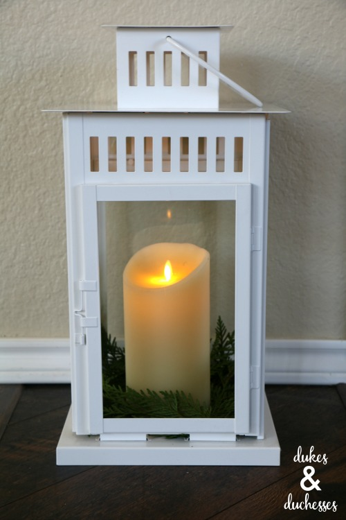 christmas lantern with cedar garland
