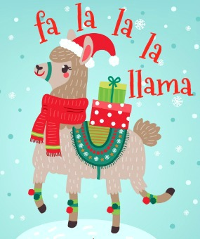 christmas llama printable