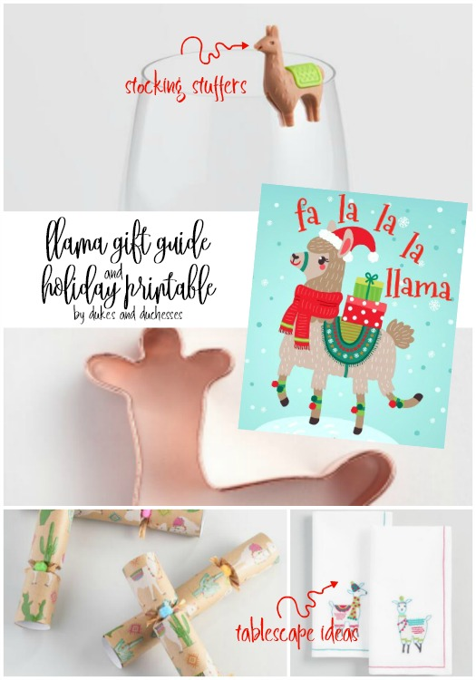 llama gift guide and holiday printable