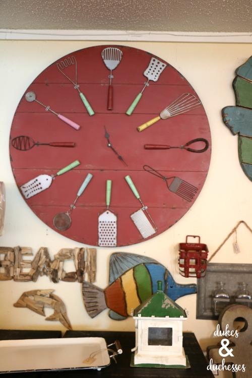 repurposed clock at beach bums decor shop