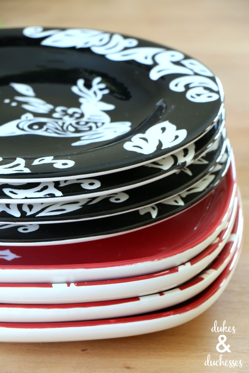 stack of christmas dishes