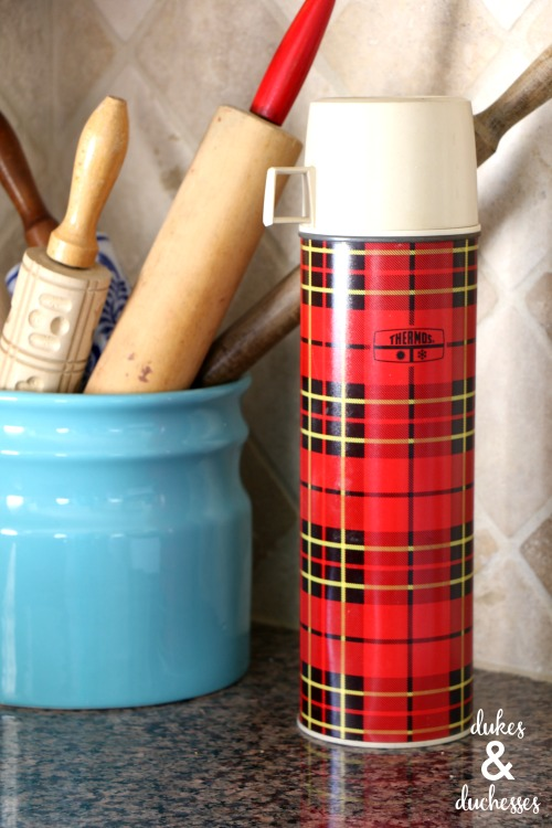 vintage plaid thermos decor ideas