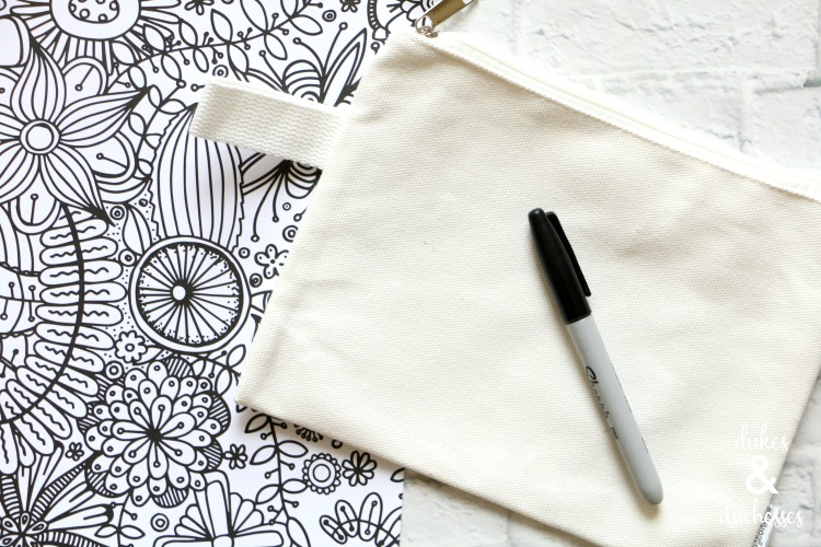canvas coloring page pencil case