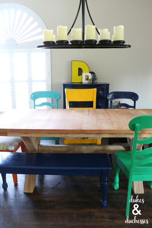 colorful dining room table makeover