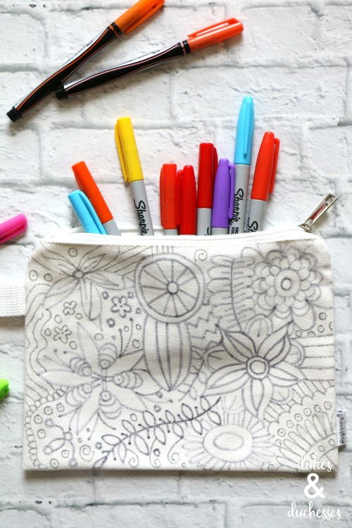 coloring page pencil case tutorial