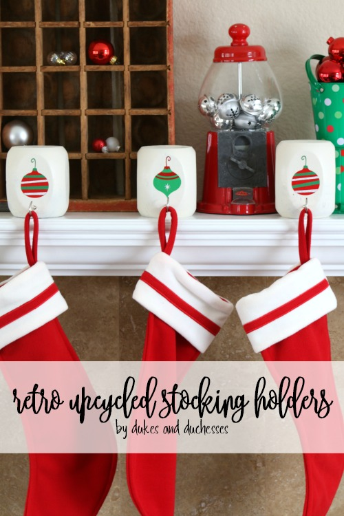 DIY Retro Upcycled Stocking Holders with Cricut Ornament Designs by Randi Dukes