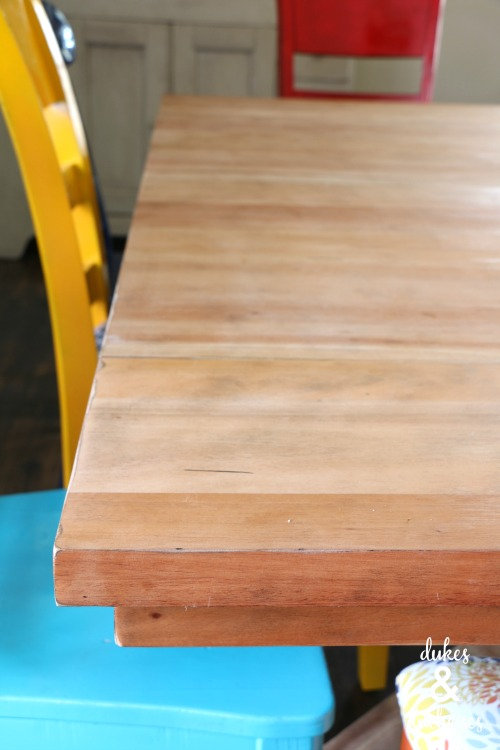 sanded dining room table