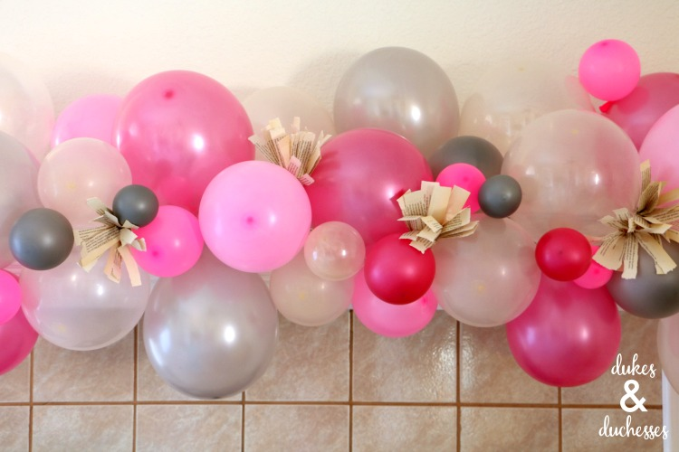 balloon and book page garland