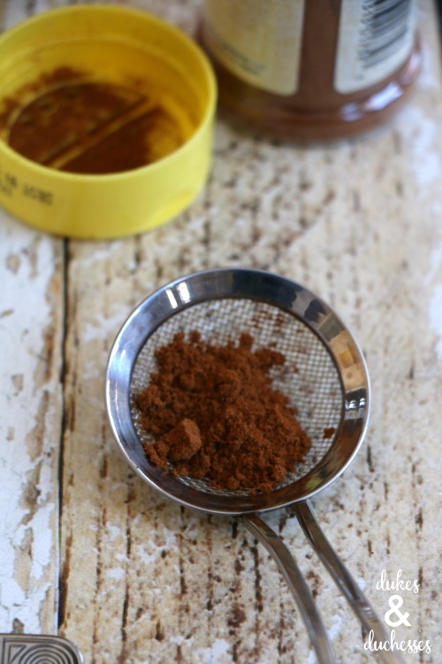 cinnamon or cocoa for sprinkling on coffee