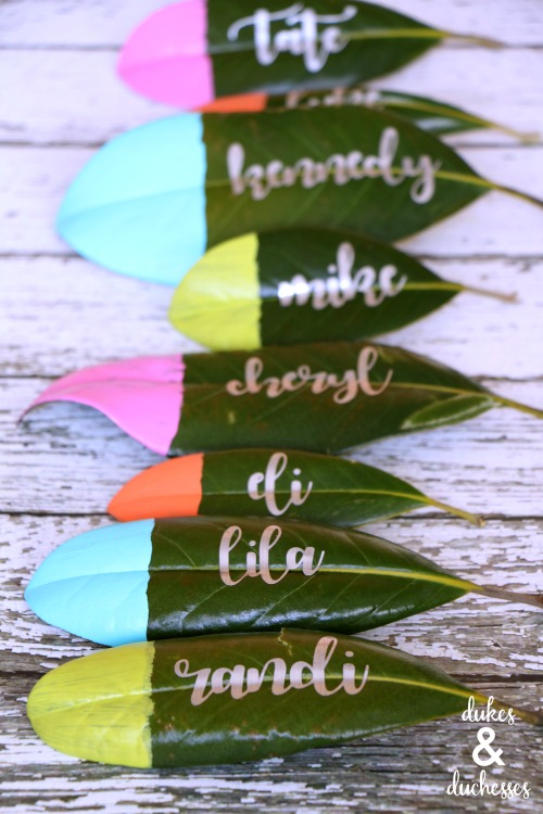 colorful magnolia leaf place cards