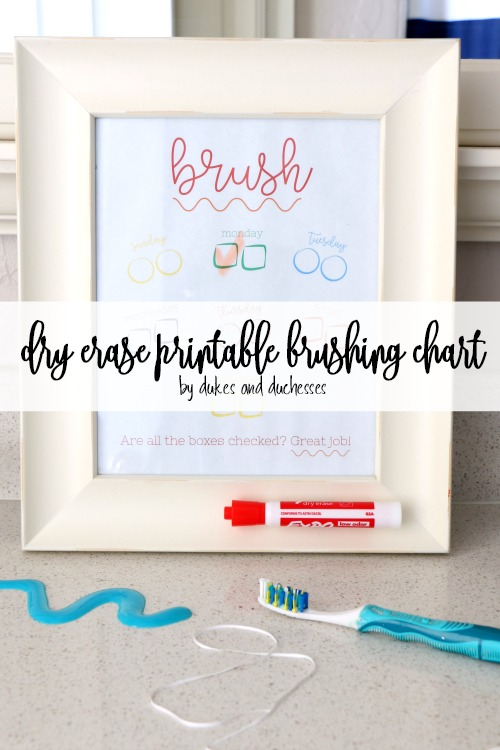 dry erase printable brushing chart