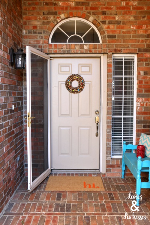 front porch with DIY welcome mat