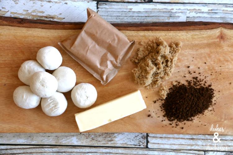 ingredients for coffee glazed cinnamon rolls