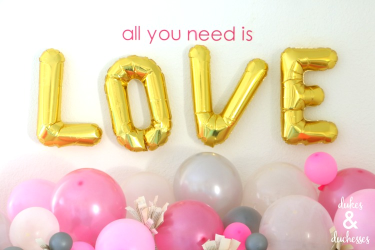 love balloons valentine's day mantel