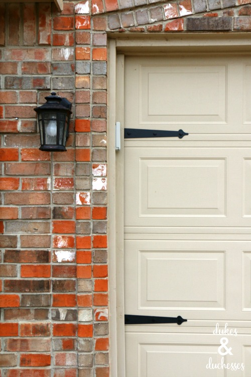 magnetic hardware for garage door makeover