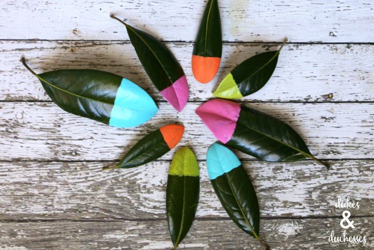 paint dipped magnolia leaves