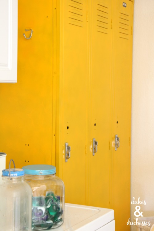 repurposed painted athletic lockers