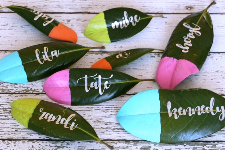 upcycled magnolia leaf place cards