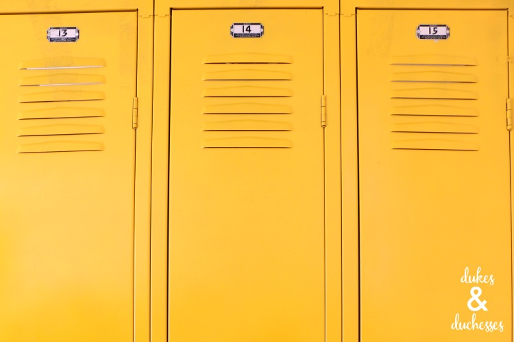 yellow painted lockers