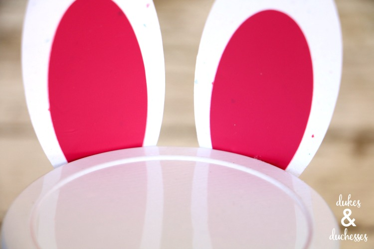 cardstock and vinyl ears on easter bunny slime