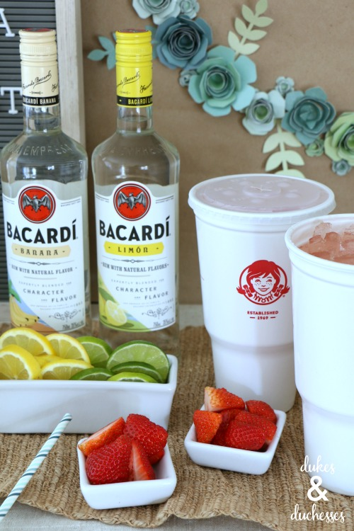 cocktail bar with bacardi rum and wendy's strawberry lemonade signature drink