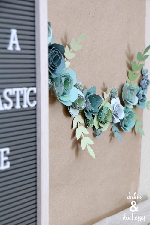 paper succulent DIY party backdrop